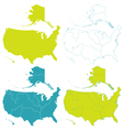 Map of USA set vector image vector image