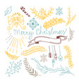 merry christmas greetings card design doodle vector image