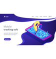 mobile tracking soft isometric 3d landing page vector image vector image