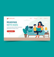 mom reading for kids landing page template cute vector image vector image