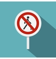 No pedestrian traffic sign icon flat style vector image vector image