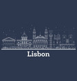 outline lisbon portugal city skyline with white vector image vector image