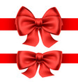 red bows with horizontal ribbons vector image vector image