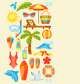 seamless pattern with summer and beach objects vector image vector image