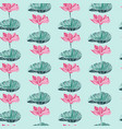 seamless pattern with watercolor lotus flower vector image vector image