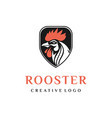 security shield with rooster head logo design vector image vector image