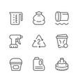 set line icons polyethylene or polythene vector image