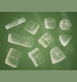 set of chalk christmas or birthday gifts on green vector image vector image