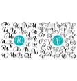 set of hand drawn calligraphy letter u v vector image