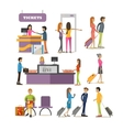 set of people characters in airport vector image vector image