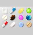 set pills and painkiller capsules vitamin vector image