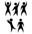 set simple black silhouettes rejoicing and vector image vector image