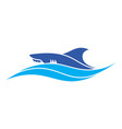 shark on waves blue sea logo icon design vector image vector image