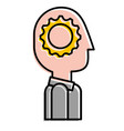 silhouette man with gear think innovation vector image