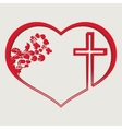 Silhouette of heart with a cross vector image vector image