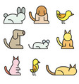 simple set of pet related line icons vector image