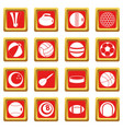 sport balls icons set red vector image vector image
