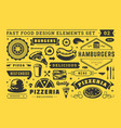 street and fast food signs and symbols with retro vector image vector image