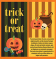 trick or treat halloween card vector image vector image