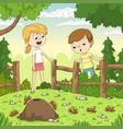 two children watching ants vector image vector image