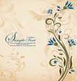 vintage style invitation card with flower vector image vector image