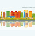 virginia beach skyline with color buildings vector image