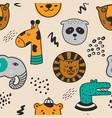 wild animals seamless pattern vector image vector image