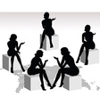 woman silhouette with hand gesture talking vector image vector image