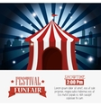 poster tent festival funfair city background vector image
