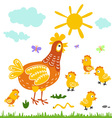 Funny cartoon colorfull hen and chicks isolated vector image