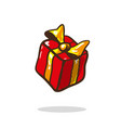 gift box red with golden ribbon and bow vector image