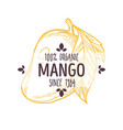 100 percent organic mango label with whole vector image vector image