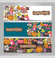 A set of thanksgiving horizontal banners happy