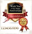 Anniversary golden label vector image vector image