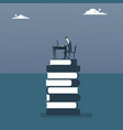 business man work computer sitting at books stack vector image