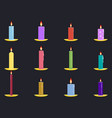 candles flat set isolated on black background vector image
