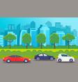 cars drive on an asphalt road against the vector image vector image