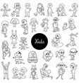 cartoon children black and white set vector image vector image