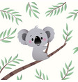 cartoon koala climbing in tree branch vector image vector image