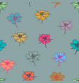 colorful doodle flowers seamless background vector image vector image
