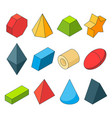 colorful isometric pictures of geometry shapes vector image