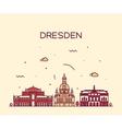 Dresden skyline linear style vector image vector image