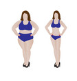 fat and slim girl weight loss fitness vector image vector image