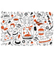 food doodle set vector image vector image