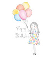 girl with balloons happy birthday holiday vector image