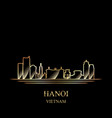 gold silhouette of hanoi on black background vector image