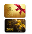 golden gift cards vector image vector image