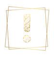 golden ornamental alphabet exclamation mark font vector image