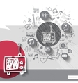 Hand drawn tv icons with icons background vector image vector image