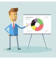 Handsome manager gives presentation shows diagram vector image vector image